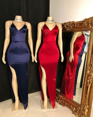 Sexy Silky Spaghetti Straps V-Neck Prom Dress Sexy High Slit Formal Party Dresses On Sale_2