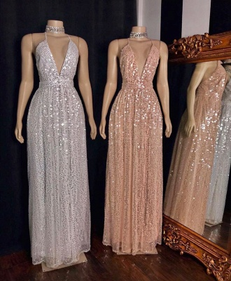 Exquisite Spaghetti Straps Deep V-Neck Prom Dress Stunning Sequined A-Line Long Formal Dresses_2