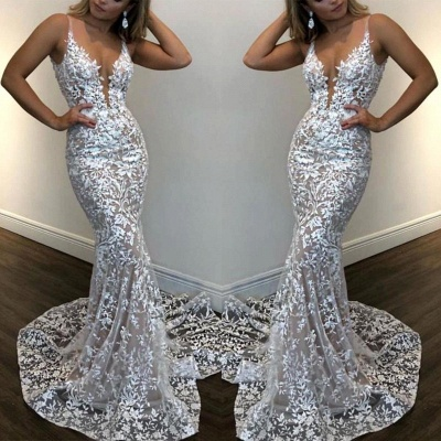 Sexy Spaghetti Straps Fitted Lace Prom Dress V-Neck Sleeveless See Through Party Dresses Online_2