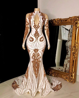 Chic High Neck Long Sleeves Prom Dress Mermaid Keyhole Long Gold Appliques Evening Dresses On Sale_2