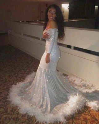 Gorgeous Off-the-Shoulder Mermaid Prom Dress Spartkly Long Sleeves Sequins Evening Dresses with Fur_3