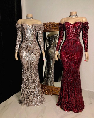 Sexy Off-the-Shoulder Floor Length Prom Dress Long Sleeves Sequins Party Dresses Online_2