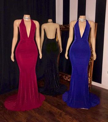 Elegant Halter Deep V-Neck Prom Dress Sleeveless Sheath Floor Length Evening Dresses On Sale_2