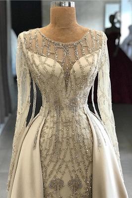 Fantastic Jewel Long Sleeves Beaded Prom Dress Mermaid Rhinestones Formal Dresses with Overskirt_2