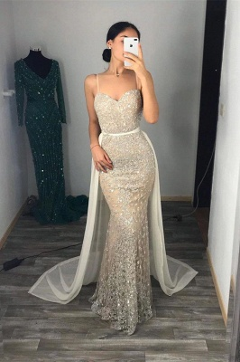 Fantastic Spaghetti Straps Sweetheart Prom Dress Sparkly Sequins Sleeveless Evening Dresses with Detachable Train_2