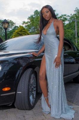 Sexy Halter Deep V-Neck Long Prom Dress Sparkly Sequins High Slit Party Dresses On Sale_1