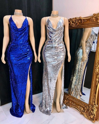 Elegant Draped Neckline Spaghetti Straps Prom Dress Sexy Sequined Long Evening Dresses with High Slit_2