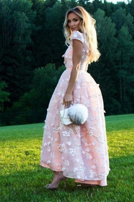 Fantastic Jewel A-Line Lace Pink Prom Dress Short Sleeves Appliques Party Dresses On Sale_2