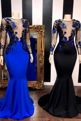 Modest Jewel Sheer Mermaid Long Prom Dress Long Sleeves Appliques Party Dresses Online_1