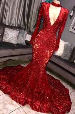 Beautiful Mermaid Sleeved Prom Dress Deep V-neck Party Gowns With Lace Applique_1