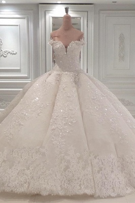 Luxurious Sweetheart Off-the-Shoulder Wedding Dresses Sleeveless Bridal Gown with Rhinestones Online_1
