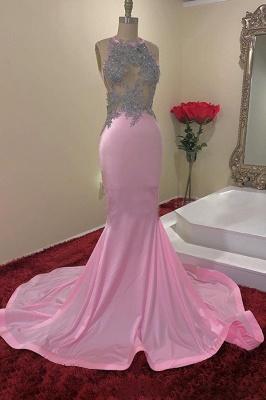 Simple Jewel Sheer Mermaid Pink Prom Dress Sleeveless Appliques Formal Dresses On Sale_1