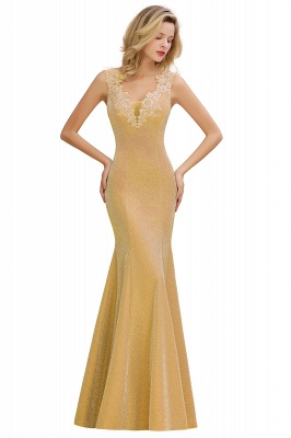 Chic Deep V-Neck Sleeveless Pink Prom Dress Glittery Appliques Mermaid Evening Dresses On Sale_3