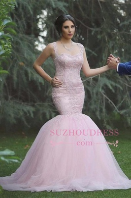 Pink Sexy Mermaid Sleeveless Tulle Long Applique Wedding Dresses_2