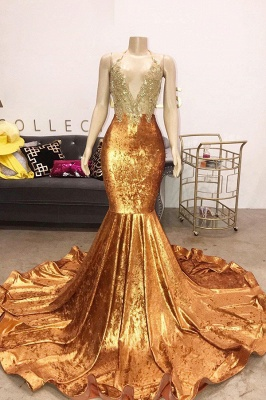 Spaghetti Straps V-Neck Lace Orange Prom Dress Appliques Mermaid Sleeveless Formal Dresses Online_1