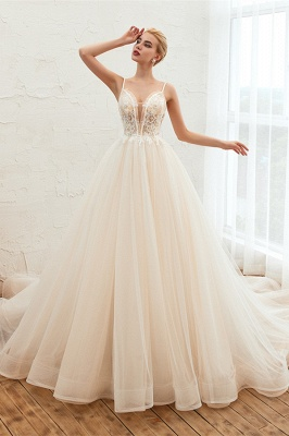 Sexy Spaghetti Straps V-Neck Ivory Wedding Dress Romantic Sleeveless  Bridal Gowns Online_3