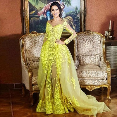 Glamorous Jewel Long Sleeves Yellow Prom Dress Appliques Formal Party Dresses with Train_3