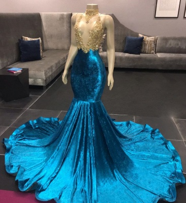 Affordable Spaghetti Straps V-Neck Lace Royal Blue Prom Dress Appliques Mermaid Sleeveless Evening Dresses on Sale_3