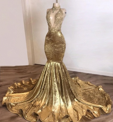 Simple Halter V-Neck Lace Brown Prom Dress Sleeveless Appliques Mermaid Party Dresses On Sale_2