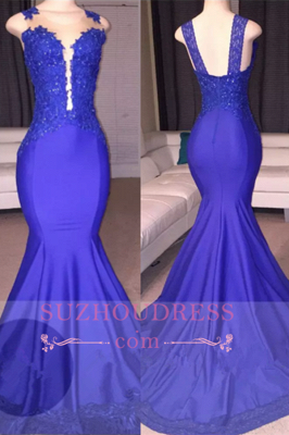 Sleeveless  Mermaid Appliques Sexy Court-Train Prom Dress_2