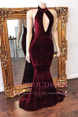 Mermaid Backless Prom Dress  Zipper Stunning High Neck Long Velvet Evening Dress BA6202_1