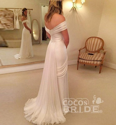 Chiffon Long Beach Wedding Dress On Sale | A-Line Off-the-Shoulder Bridal Gowns_2
