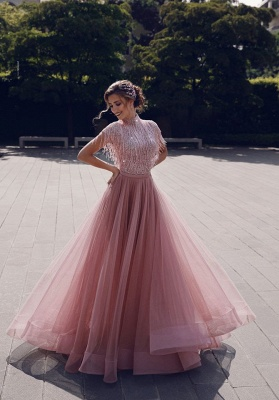 Stunning Jewel A-Line Ruffles Pink Prom Dress Short Sleeves Floor Length Party Dresses with Tassels_6