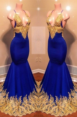 Appliques Spaghetti Summer Sleeveless Sexy Low Cut Trumpet Prom Dresses | Suzhou UK Online Shop_2