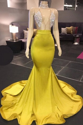 Gorgeous Halter V-Neck Prom Dress Mermaid Long Evening Gowns With Rhinestons_1
