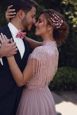 Stunning Jewel A-Line Ruffles Pink Prom Dress Short Sleeves Floor Length Party Dresses with Tassels_3