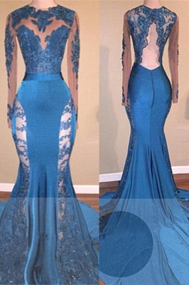 Glamorous Long Sleeves Applqiues Prom Dresses  | Mermaid Open Back Evening Dresses BA8261_2