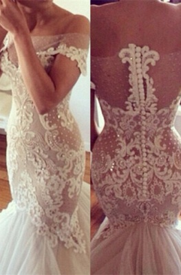 Off-the-shoulder Mermaid Wedding Dresses  Lace Tulle Best-selling Bridal Dress_1