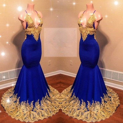 Appliques Spaghetti Summer Sleeveless Sexy Low Cut Trumpet Prom Dresses | Suzhou UK Online Shop_3