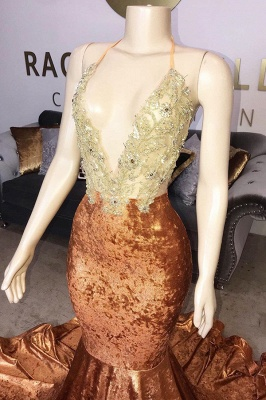 Spaghetti Straps V-Neck Lace Orange Prom Dress Appliques Mermaid Sleeveless Formal Dresses Online_2