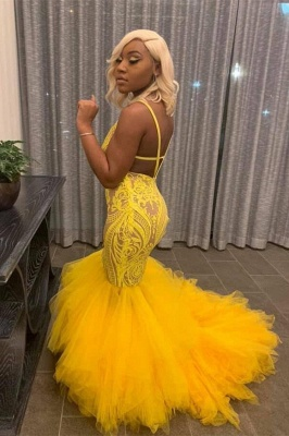 Stunning Yellow Tulle Mermaid Lace Prom Dress Spaghetti Straps Open Back Evening Dresses with Appliques_2