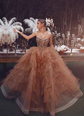 Gorgeous Tulle Strapless Sweetheart Pearls Prom Dress Champagne Formal Dresses with Beading Top_1