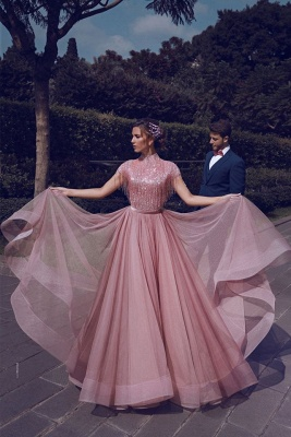 Stunning Jewel A-Line Ruffles Pink Prom Dress Short Sleeves Floor Length Party Dresses with Tassels_5