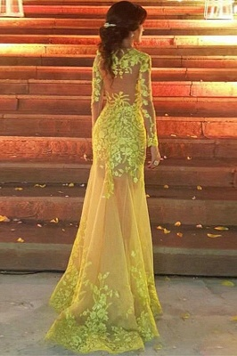 Glamorous Jewel Long Sleeves Yellow Prom Dress Appliques Formal Party Dresses with Train_2