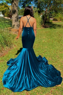 Modest Spaghetti Straps V-Neck Lace Prom Dress Appliques Dark Blue Mermaid Evening Dresses On Sale_2