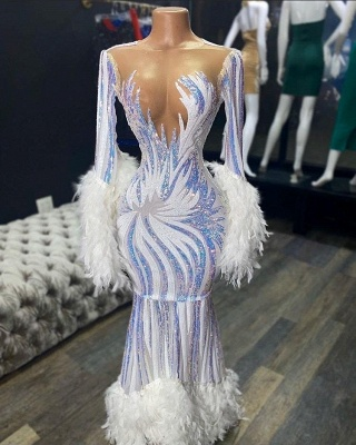 Stunning Bateau Neckline Long Sleeves Prom Dress Mermaid Feather Formal party Dresses On Sale_2