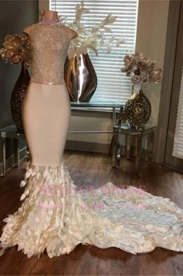 Sleeveless High-Neck Mermaid Appliques Sleeveless Prom Dresses with Ruffles_2