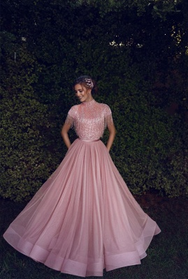 Stunning Jewel A-Line Ruffles Pink Prom Dress Short Sleeves Floor Length Party Dresses with Tassels_2