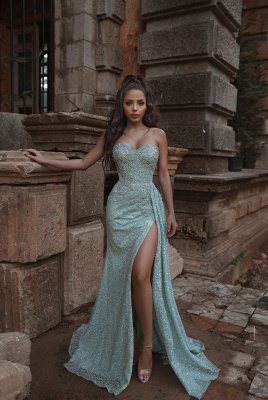 Sexy Strapless Sweetheart Mint Prom Dress Sexy High Slit Ruffles Long Evening Dresses Online_1