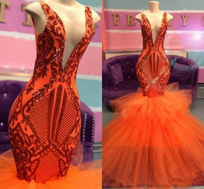 Sexy Sleeveless Deep V-Neck Prom Dress Tulle Orange Party Dresses with Puffy Train_2