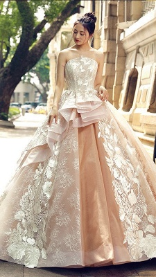 Applique Organza Strapless Ball Gown Sweep Train Prom Dress UK on sale_2