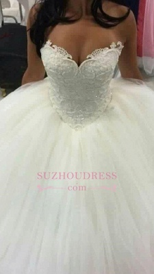 Sweetheart Ball Gown Wedding Dress Sleeveless Amazing Beaded Lace Wedding Dresses BA4355_2
