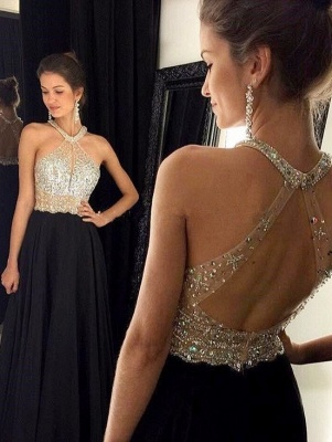 Sexy A-Line Chiffon Black Dress with Beadings Halter Open Back Prom Dresses GA004_2