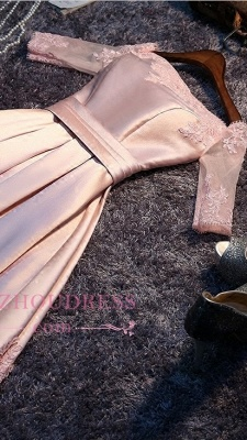 Newest Short Pink Homecoming Dress Half-Sleeves A-Line Off-the-Shoulder Party Dresses_2