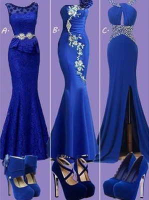Pretty Lace Royal Blue Dress with Crystals Belt_2