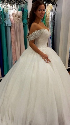 Off Shoulder Ball Gown Wedding Dress Sweeheart Crystals Wedding Gowns_2